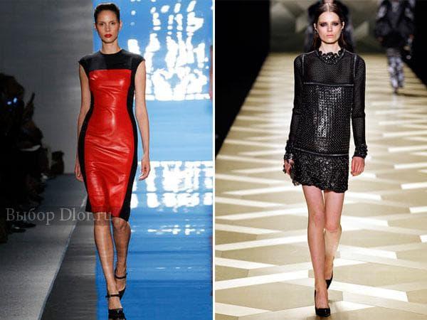 Красно-черное платье-футляр и короткое черное с длинным рукавом