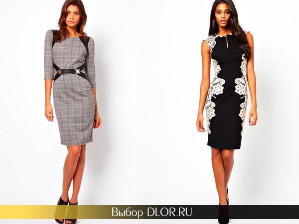 Офисные платья серого и черного цвета