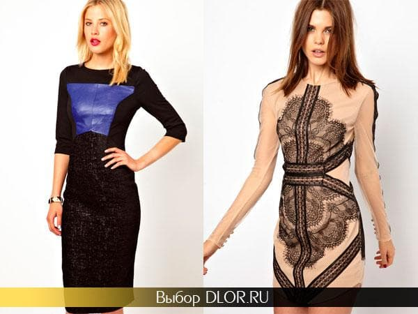 Офисные платья черно-синего и бежевого цвета с вышивкой