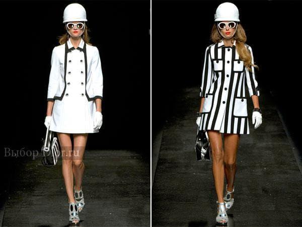 Весенние короткие платья черно-белого цвета