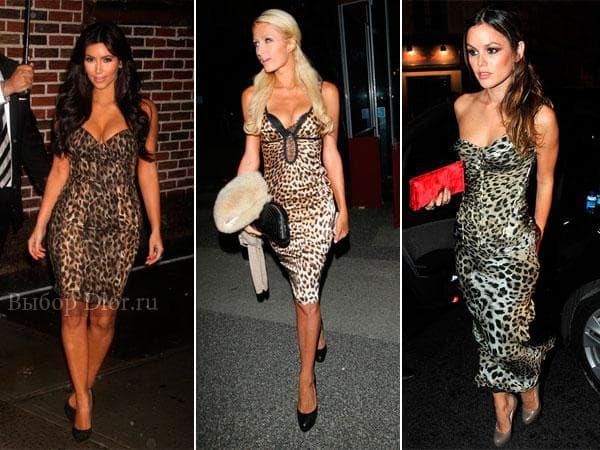 Строгие платья средней длины с леопардовым узором
