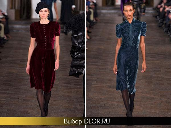 Фото бордового и синего бархатных платьев