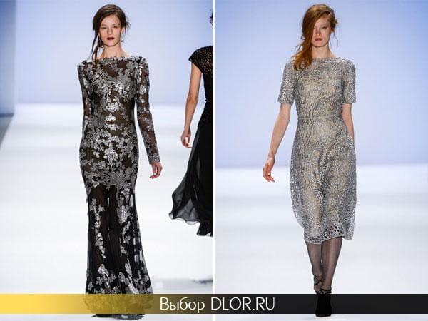 Платья с серебристым кружевом от Тадаши Шоджи