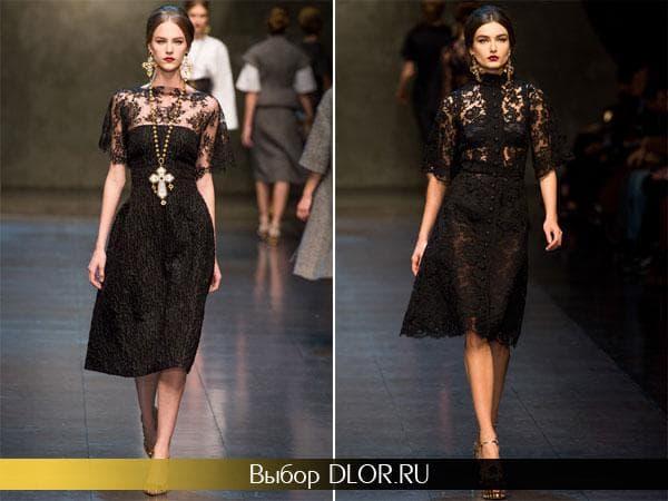 Черные кружевные платья от Дольче и Габбана