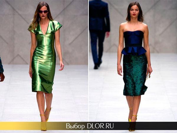 Фото блестящих платьев от Burberry