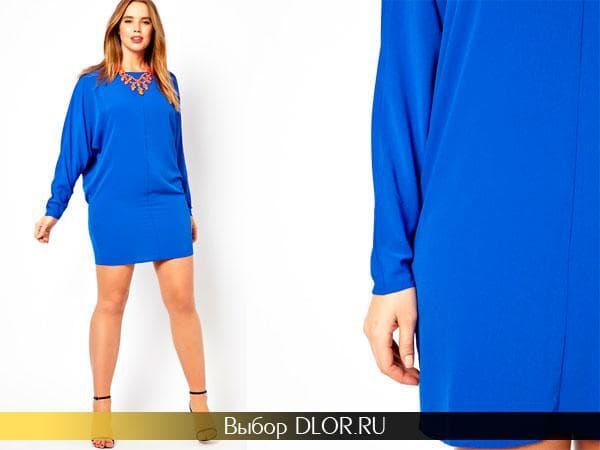 Фото синего шифонового платья для полных