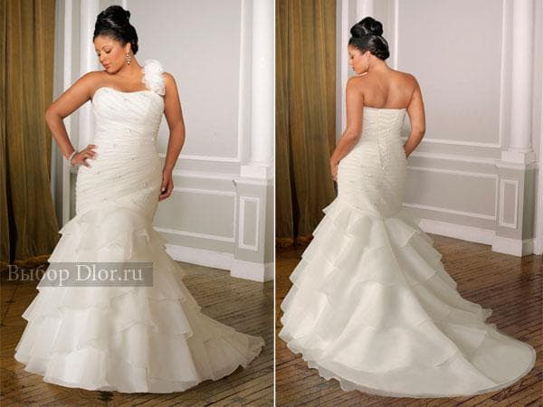 Свадебное платье с бретелей на одно плечо
