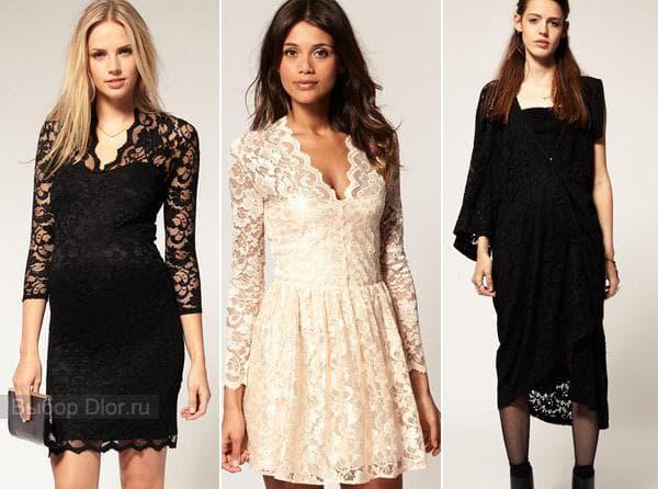 Черные платья ниже колена и короткое кремовое платье