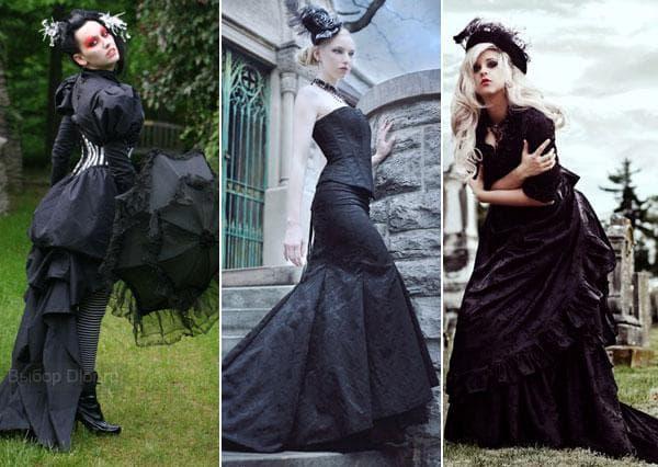 Длинные черные платья с корсетом