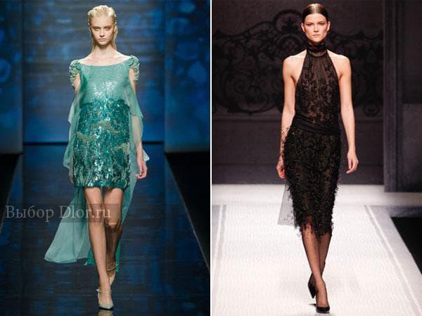 Платья средней длины: черное и цвета морской волны со шлейфом