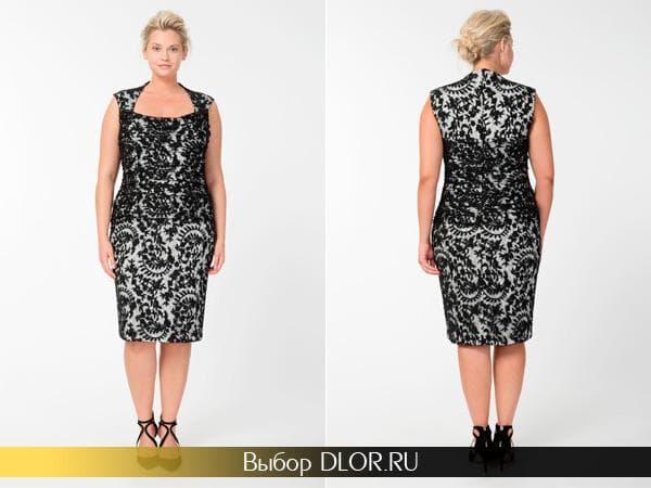 Черно-белое кружевное платье для пышных дам
