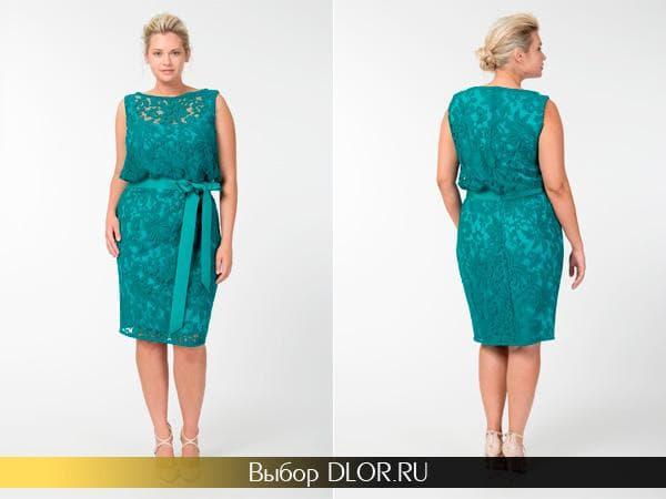 Гипюровое платье с завышенной талией для полных