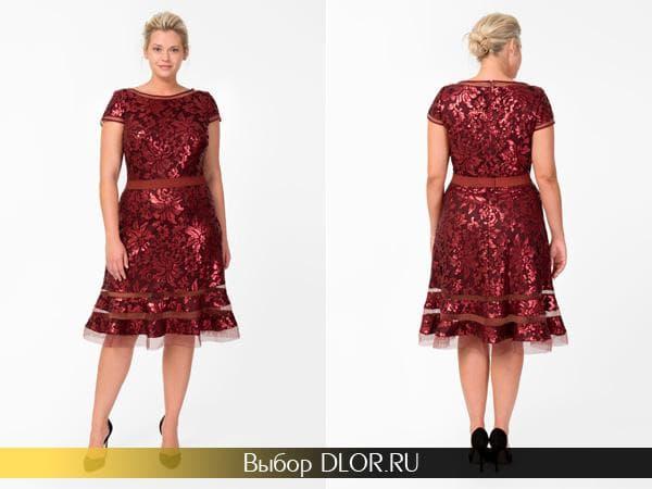 Красное кружевное платье-трапеция