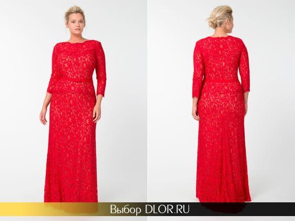 Красное длинное платье с баской