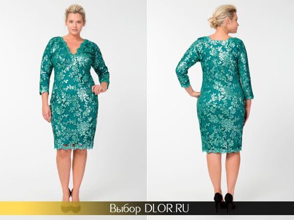 Бирюзовое платье-футляр для полных