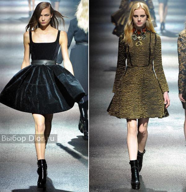 Короткие платья с пышной юбкой черного и болотного цвета