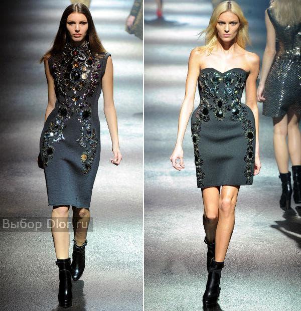 Серые платья: платье-карандаш и платье-бюстье