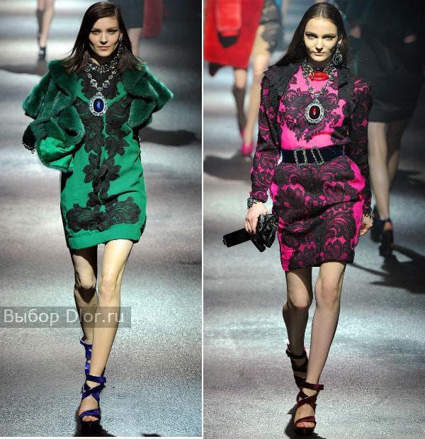 Короткие платья с кружевом: зеленое и розовое