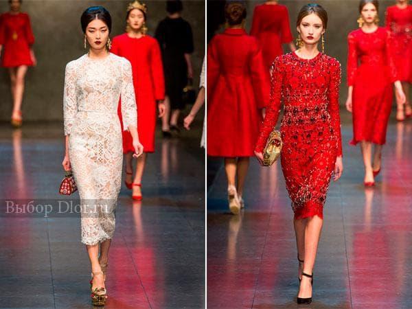 Белое и красное платье с кружевом от Dolce&Gabbana