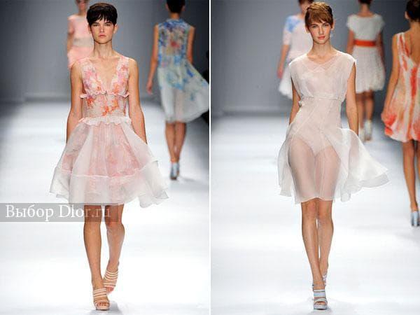 Фото коротких персиковых легких платьев