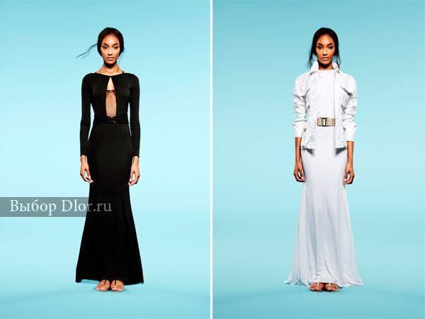 Черные и белые модели длинных зимних платьев