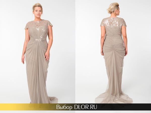 Красивое вечернее платье украшенное камнями бежевого цвета