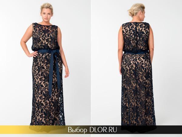 Черное платье без рукавов в пол для полных