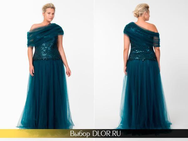 Шикарное длинное платье на одно плечо