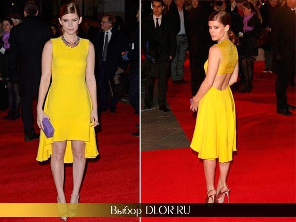 Желтое платье с открытой спиной средней длины Кейт Мары