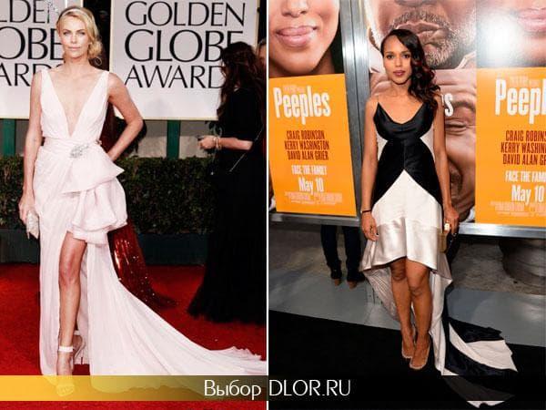 Бежевое и черно-белое платье разной длины