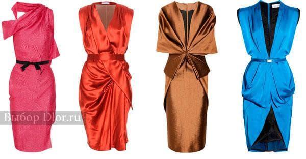Модные атласные платья-футляр
