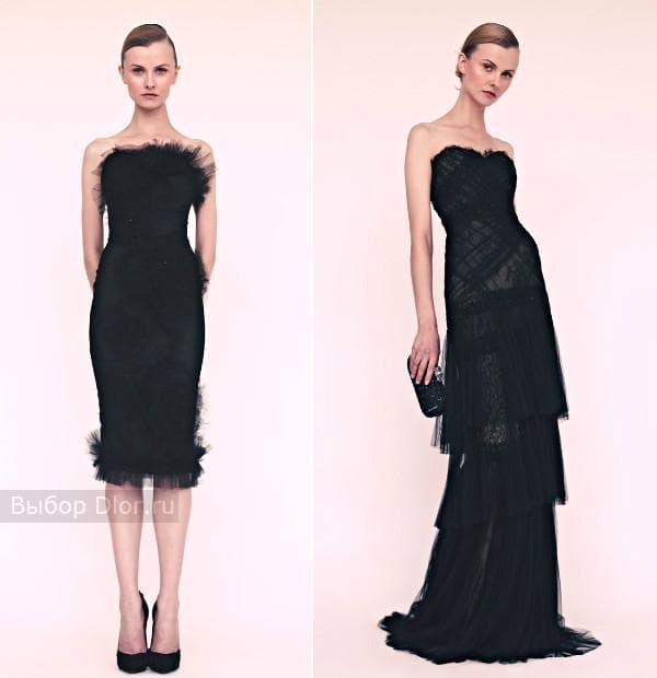 Нарядные черные платья длиною в пол и по колено