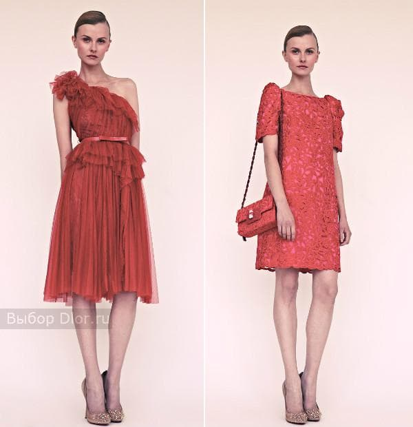 Красное коктейльное платье и кружевное повседневное