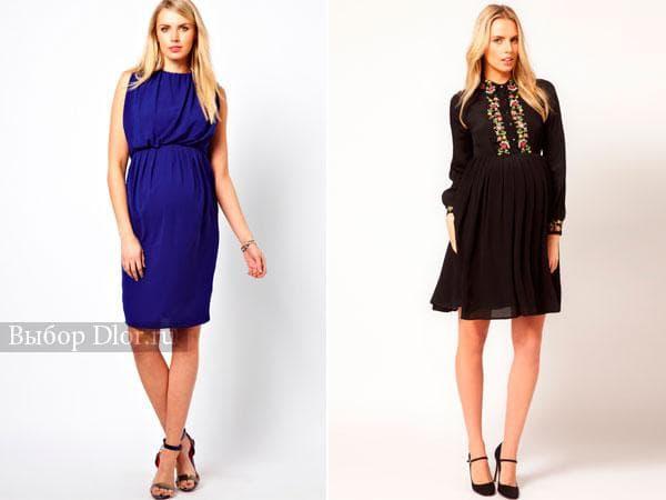 Синее платье без рукавов и черное шифоновое с вышивкой