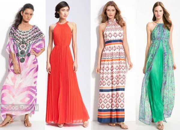 Длинные платья с яркими принтами