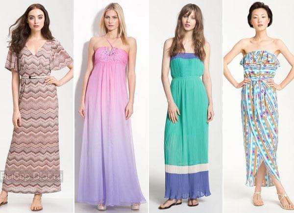 Платья в пол в светлых тонах