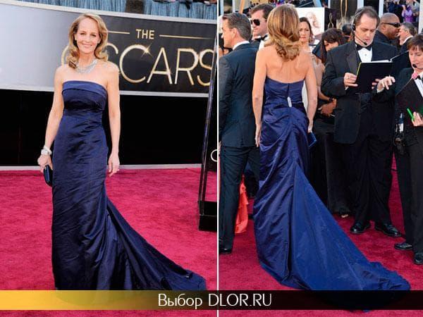 Хелен Хант в синем платье-бюстье