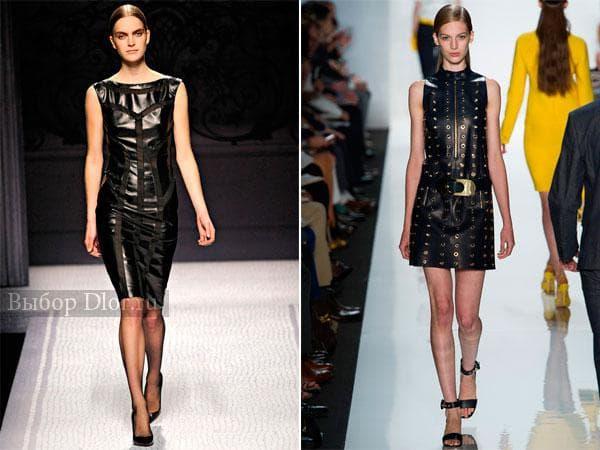 Модные платья с кожаными вставками с поясом