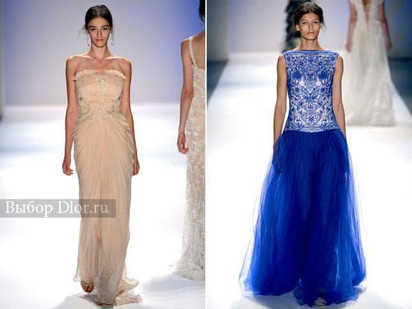 Фото платьев с вышивкой персикового и голубого цвета