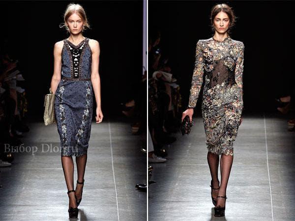 Строгие платья-футляр с кружевом и узорами