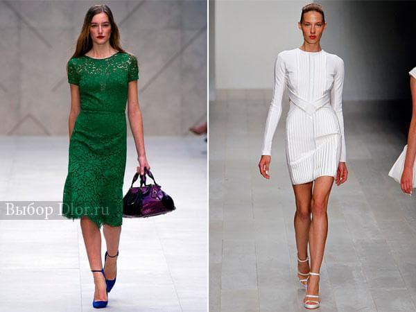 Зеленое кружевное и белое бандажное платье на корпоратив
