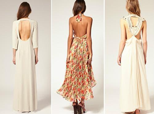 Длинные платья с вырезом на спине