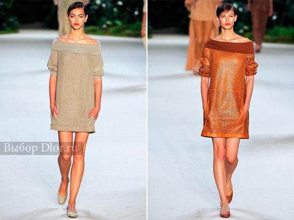 Фото вязаного и кожаного платья-туники