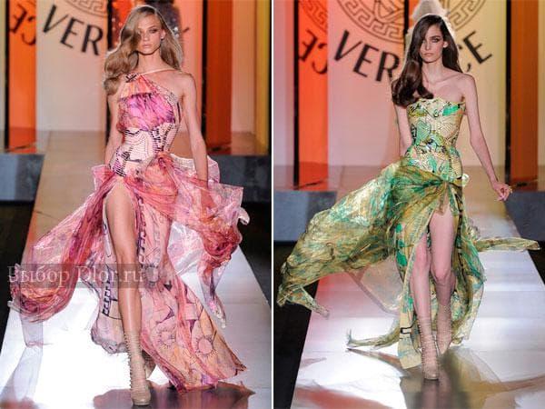 Летние шифоновые платья с открытыми плечами от Versace