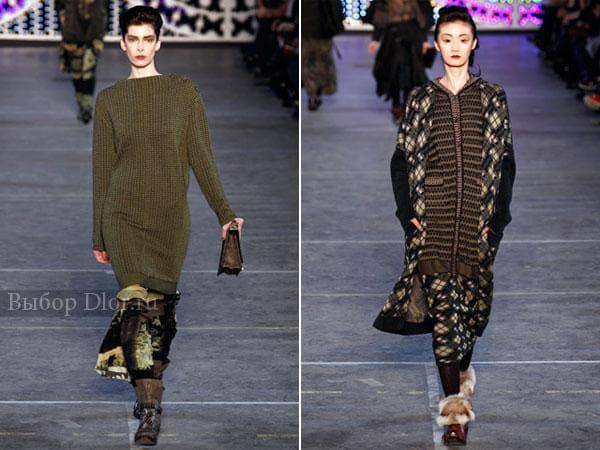 Платья-свитер болотного цвета