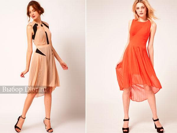 Бежевое и оранжевое платье-плиссе