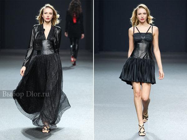 Черные платья со вставками натуральной кожи