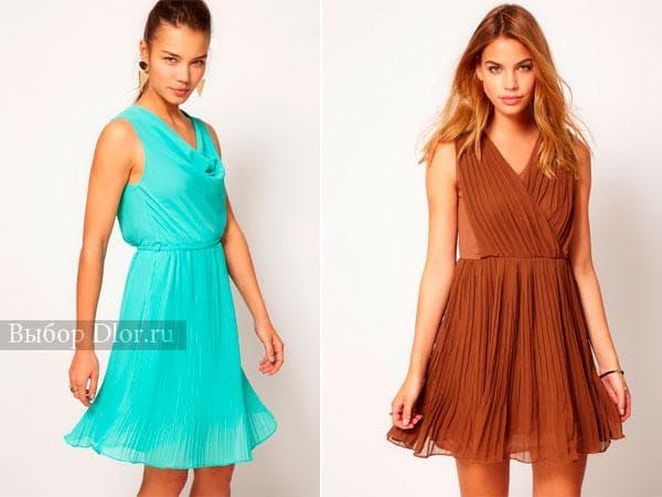 Короткие плиссированные коктейльные платья бирюзового и коричневого цвета