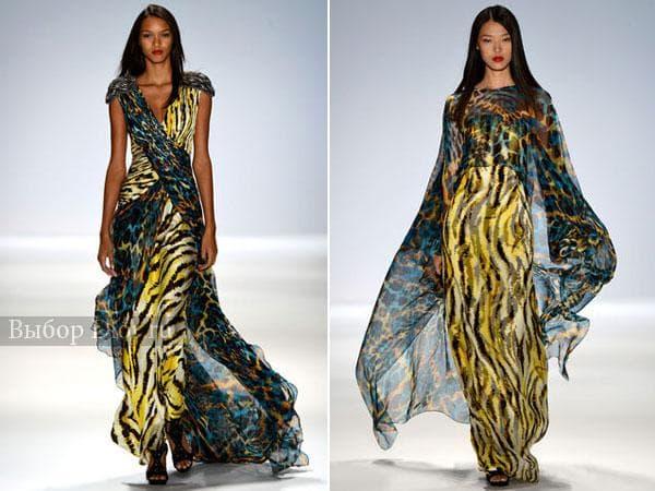 Длинные летние платья с животным принтом