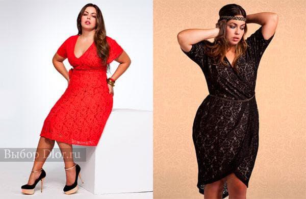 Красное и черное гипюровое платье